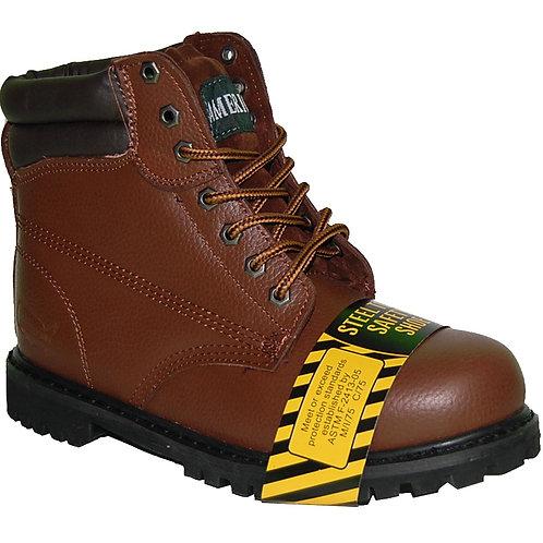 KRAZY LP Men's Steel Toe Superb Stitching Genuine Leather Brown Workboot