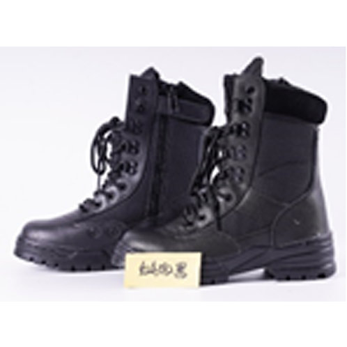 Ruso Men's 9 inch Black Leather Lace Up, Side Zipper Padded Collar Tactical Boot