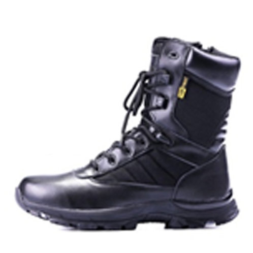 Iron Men's 8 inch Black Leather Lace Up, Padded Collar Combat Boot