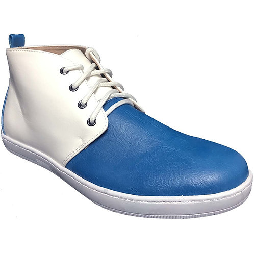 KRAZY Shoe Men's Two-Tone, White-Blue Ankle Height Lace-up Casual Boot