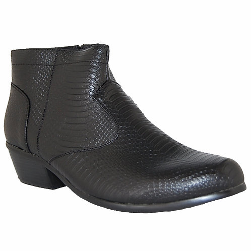 KRAZY Shoe Artists Black side zipper Men's Cuban Heel Boot