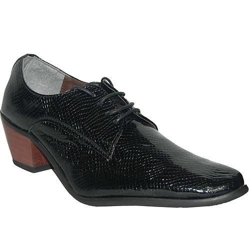 KRAZY Shoe Artists Black Lace-up Men's Cuban Heel Shoe