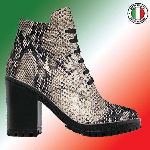 Custom Design Men's 3.3 inch Heel, Lace Up Boot All Python