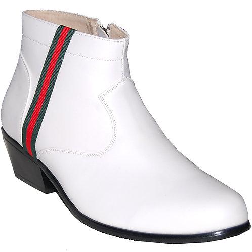New Elvis White KRAZY Shoe Artists Men's Cuban Heel Shoe with Ornament 1