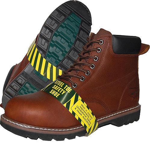 KRAZY Shoe Artists Men's Brown Steel Toe Top Stitching Genuine Leather Workboot