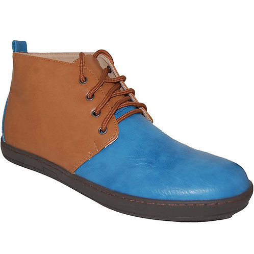 KRAZY Shoe Men's Two-Tone, Tan-Blue Ankle Height Lace-up Casual Boot