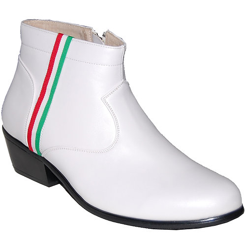 New Elvis White KRAZY Shoe Artists Men's Cuban Heel Shoe with Ornament 2