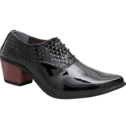 KRAZY Shoe Artists Black Gorgeous Patent Men's Cuban Heel