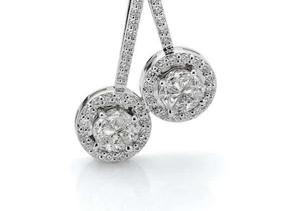 18ct White Gold Halo Set Diamond Pendant