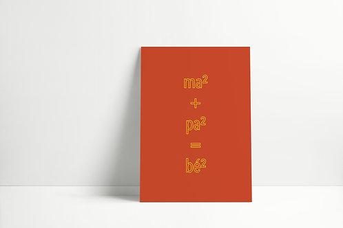 Postkaartje - ma² + pa² = bé²
