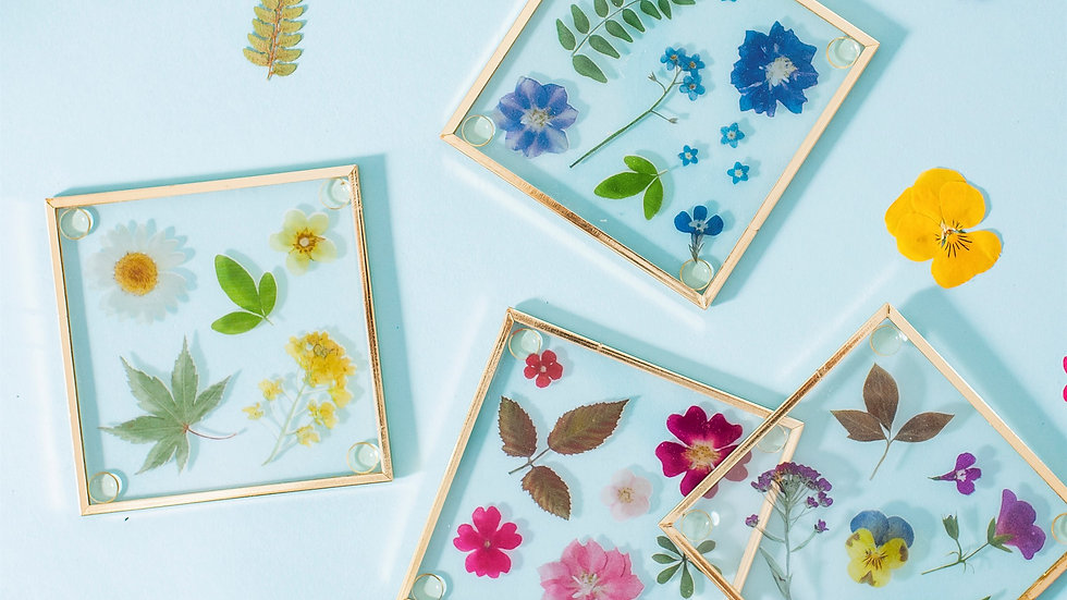Pressed Flowers Glass Coasters - Set of 4