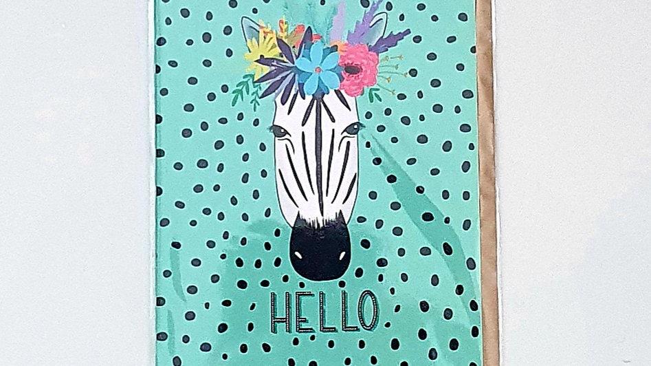 Hello Zebra Greetings Card