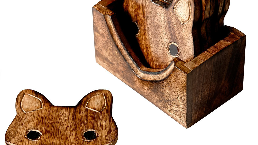 Sass & Belle Wooden Fox Coasters - Setof 6