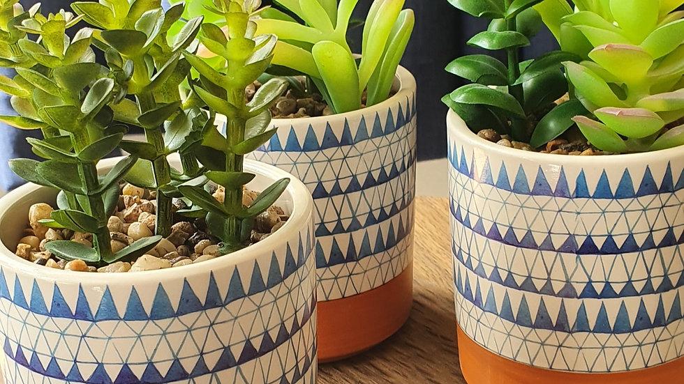 Blue & White Ceramic Faux Succulents