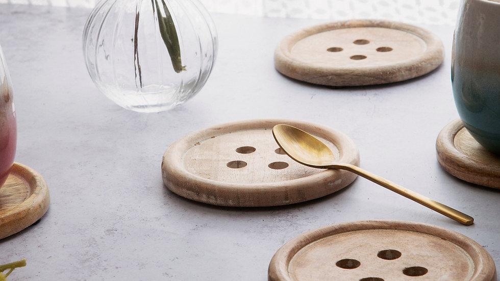 Sass & Belle Wooden Button Coaster Set of 6