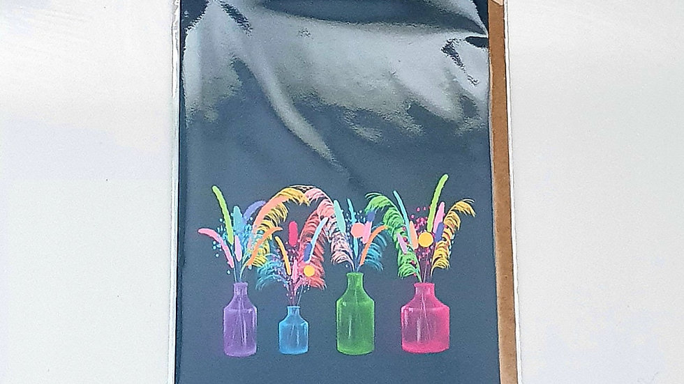 Dried Flower Vases Greetings Card