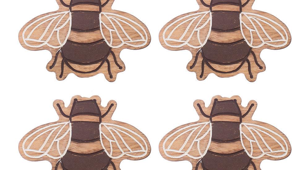 Wooden Bee Coasters - Set of 4