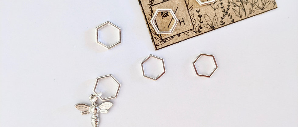 Silver Hexagon and Bee Stitch Markers