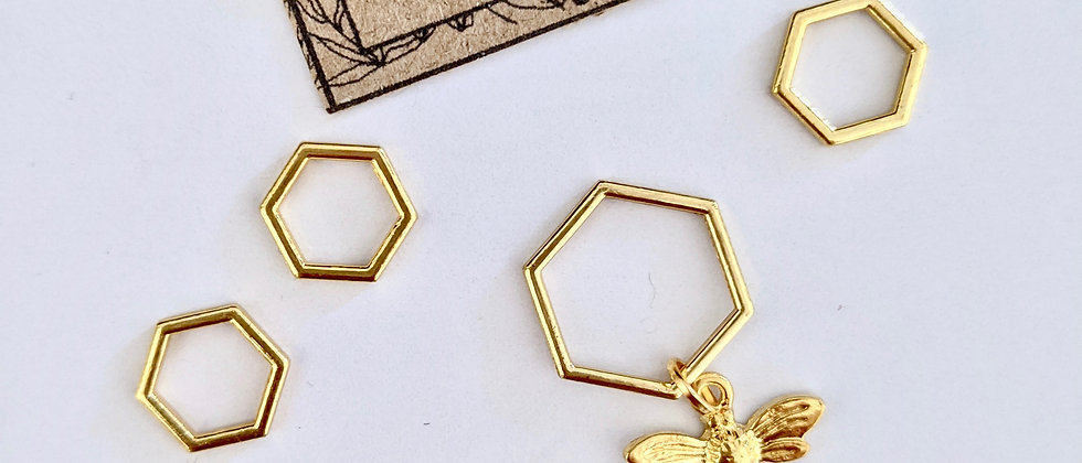 Gold Hexagon and Bee Stitch Markers