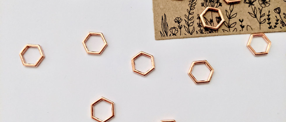 12 Hexagon Stitch Markers - Rose Gold
