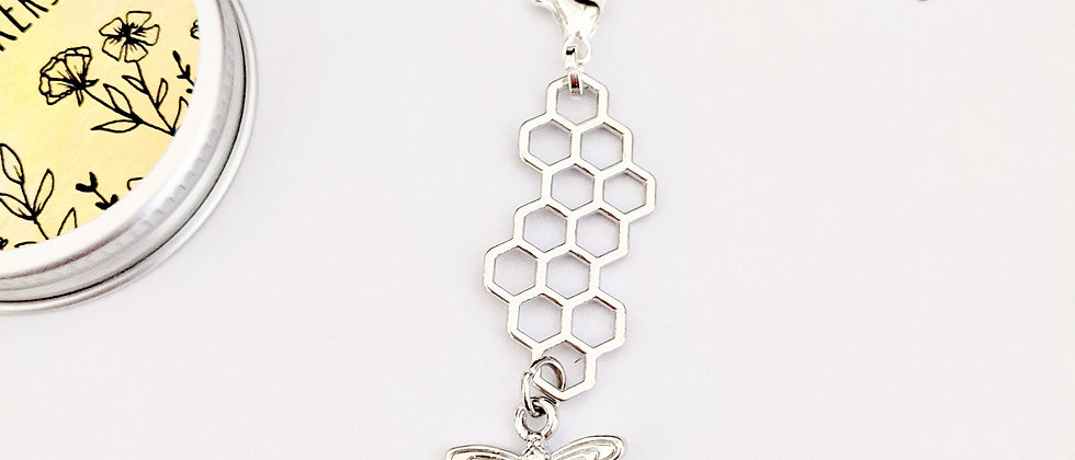 Silver Honeycomb with bee stitch marker