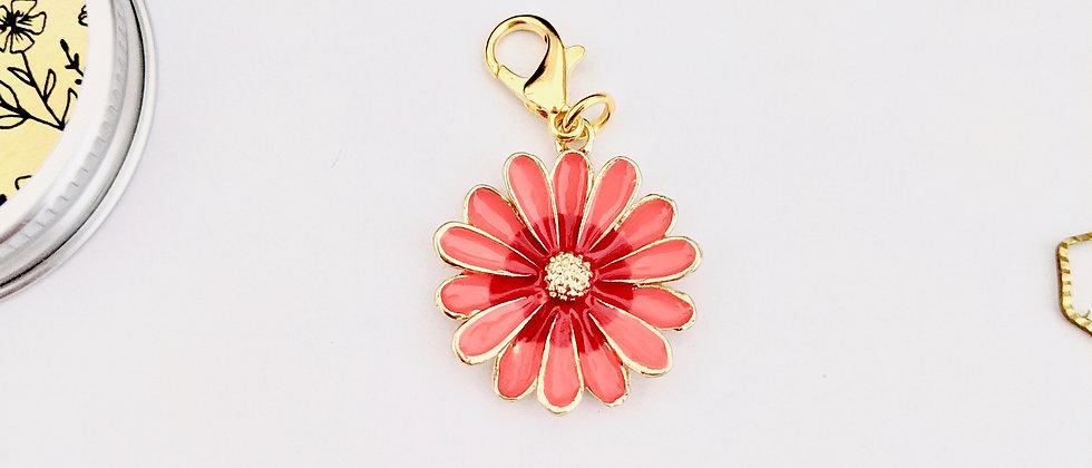 Red daisy stitch marker