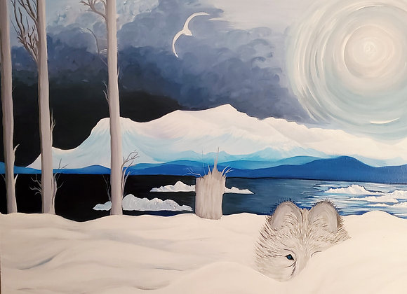 Watching Wolf In Winter Light