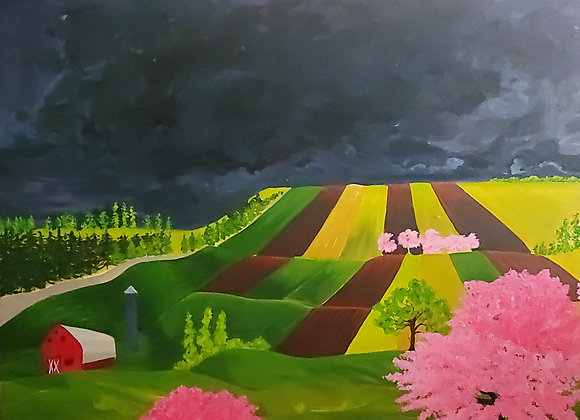 Thunder Clouds Over Farm Fields