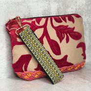 Pink Chenille Vintage Lace Wristlet