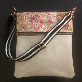 Pink Brocade with Distressed Leather