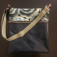 Blue Leather with Woven Strap