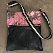 Distressed Leather with Pink Tweed