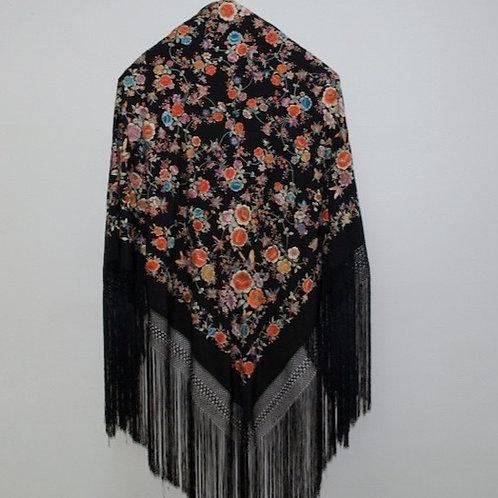 Mantón Negro Mil Mariposas