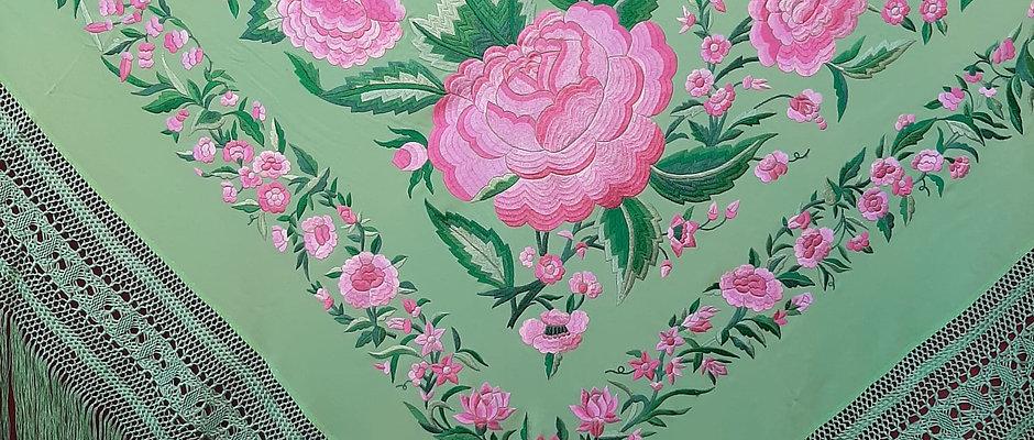 Mantón flor de Ibi verde manzana