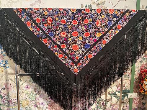Mantón antiguo negro y colorido