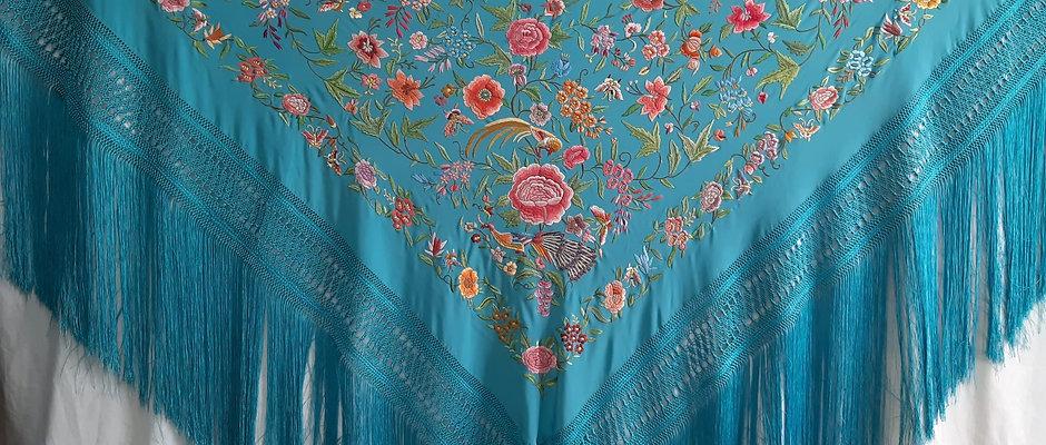 Mantón Turquesa Pavos y flores