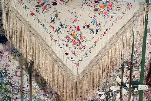 Mantón mediano colorido de pájaros