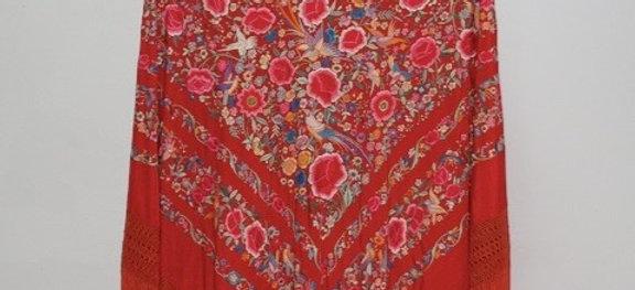 Mantón Rojo Valentino Primavera
