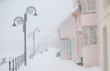 Lyme Regis...Simply snow and pink 2018 .