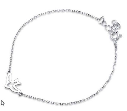"Plain Bird Peace Jesus Love .925 Sterling Silver Bracelet 6"" + 1"" extension"