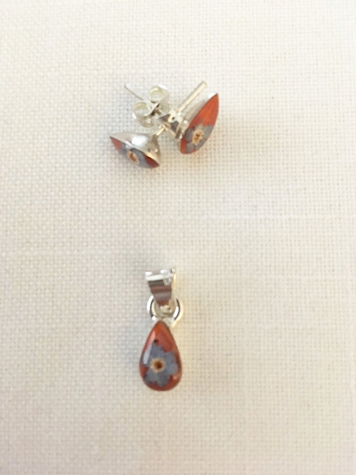 Small Pendant and Earrings Orange