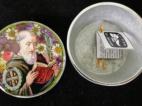 Pewter Box w/ Image of St Benedict