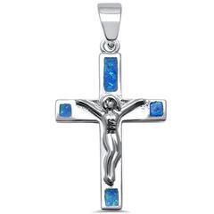 Silver & Blue Opal Jesus Crucifix Cross .925 Sterling Silver Pendan