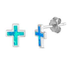 Earrings - Cross .925 Sterling Silver & Blue Opal