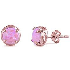 Earrings - Rose Gold Plated Round Shaped Pink Opal Stud .925 Sterling Silver