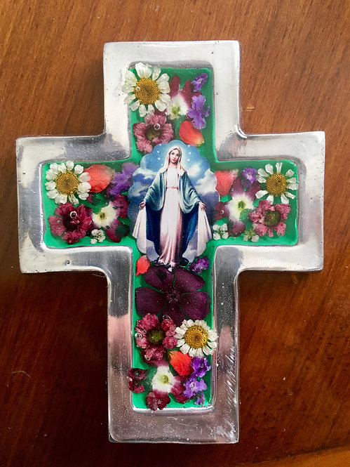 Cross with Flowers - Our Lady of Grace