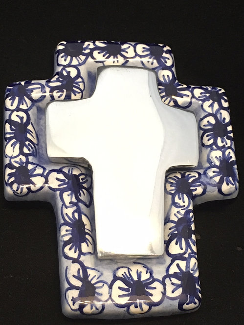 Ceramic cross with pewter, flower pattern