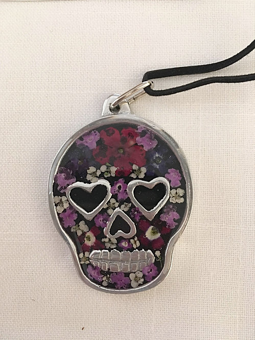 Pendant Pewter Skull with Leather Cord