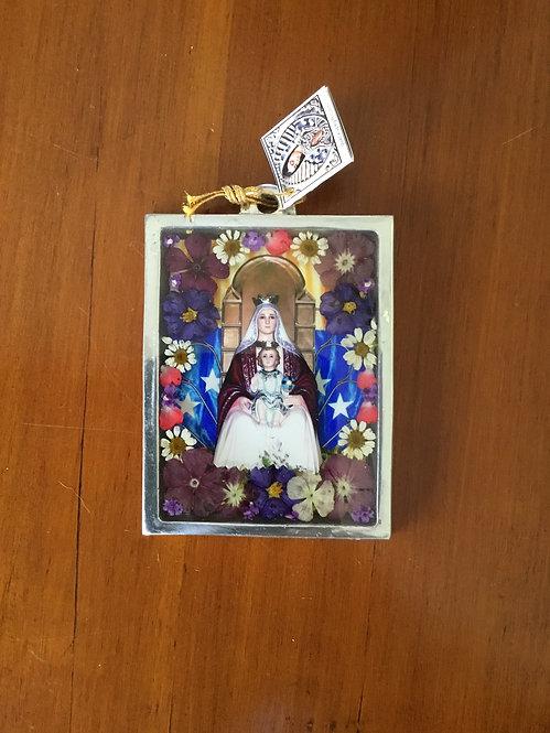 Pewter Frame w/ Image of  the Virgin of Coromoto