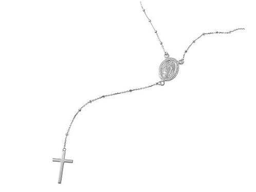 Sterling Silver Rhodium Plated Rosary Necklace OL of Grace 18""